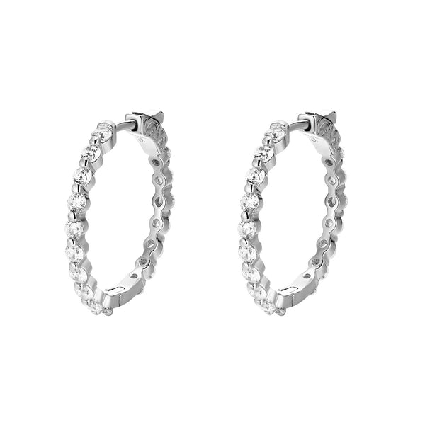 Silver Prong Style Solitaire Lab diamonds Hoop Earrings