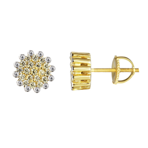 Canary Cluster Prong Solitaire Screw back Silver Earrings