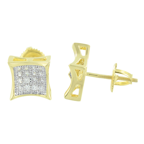 14K Gold Tone Earrings Concave Kite Shape Studs Screw Back Unisex