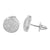 Round Earrings White Gold Finish Screw Back