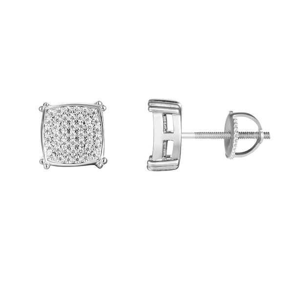 Sterling Silver Square Designer Iced Out Stud Earrings