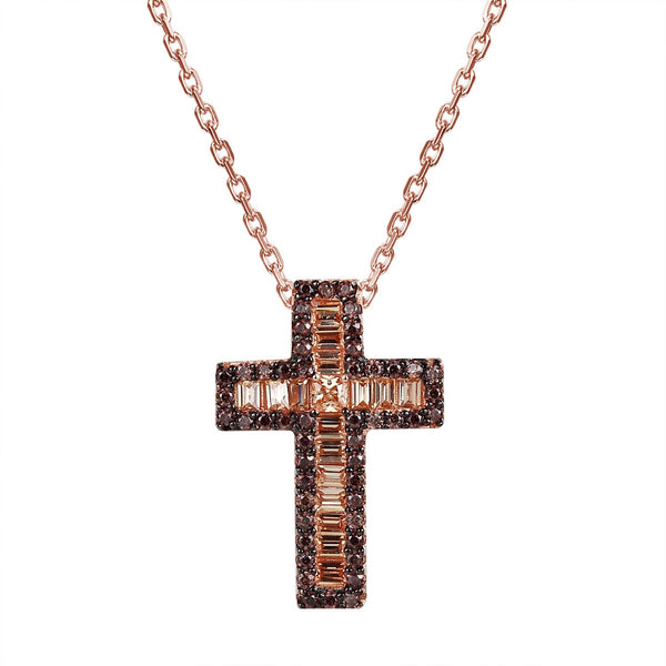 Rose Gold Tone Brown Bling Cross Pendant Set