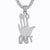 Mens No Hands  Palm Sign Emoji Silver Bling Pendant