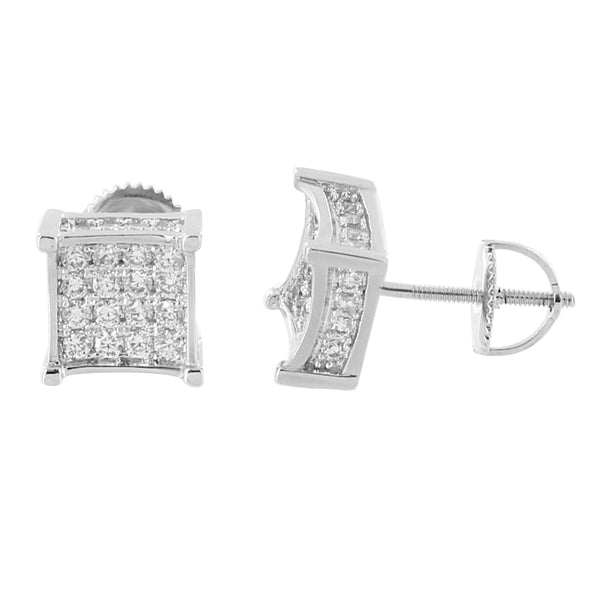 Iced Out Earrings 14K White Gold Finish Simulated Diamonds Screw Back Studs Elegant