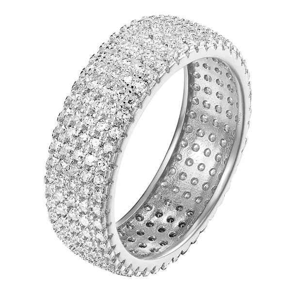 Eternity Ring Sterling Silver White Womens Wedding Band Simulated Diamond Bridal