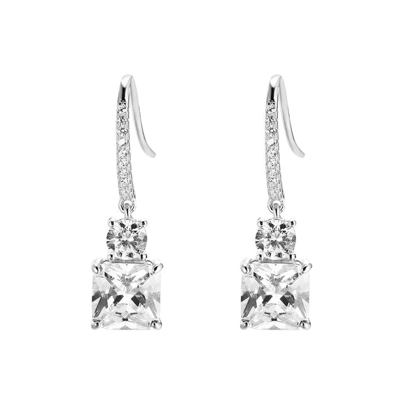 Sterling Silver Iced out Elegant Solitaire Hanging Earrings