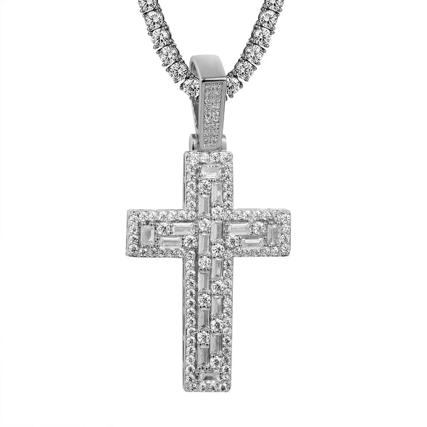 Designer Baguette Row Solitaire Iced Out Faith Cross Pendant