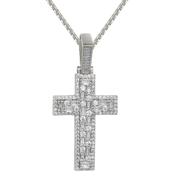 Designer Baguette Row Solitaire Bling Faith Cross Pendant