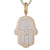 Two Tone Gold Hamsa Hand Double Layer Icy Hip Hop Pendant