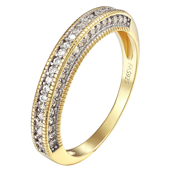 925 Sterling Silver Half Eternity Ring 14k Gold Finish Womens Promise Engagement