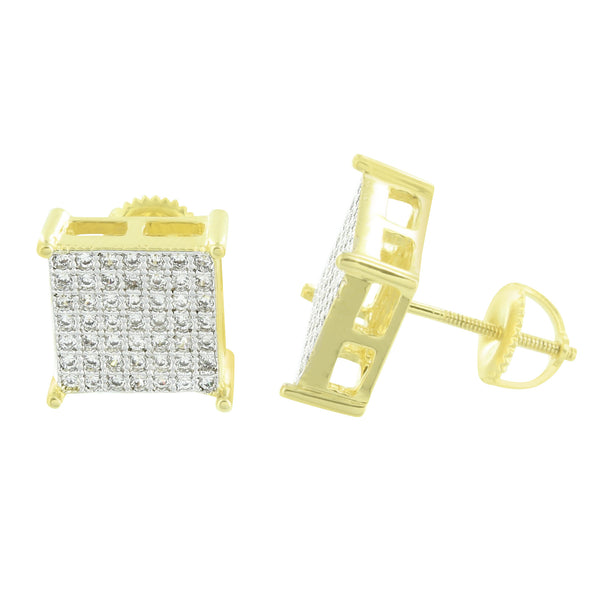 Screw Back Square Earrings 14K Finish Lab Diamonds 10 MM Mens