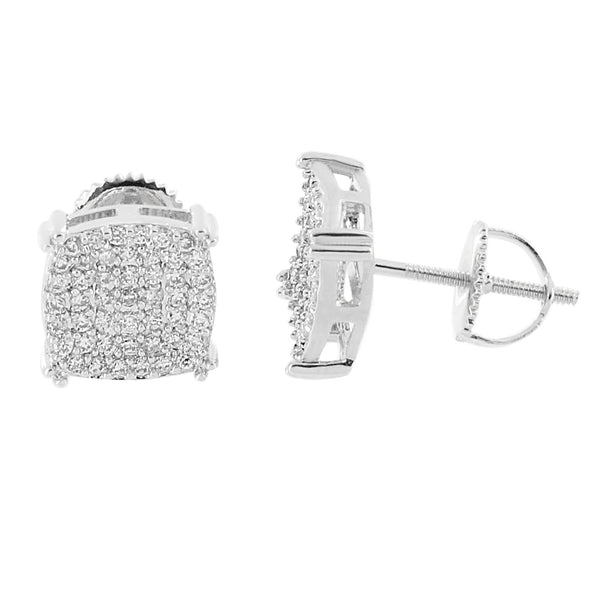 Iced Out Prong Set Earrings Cluster Simulated Diamonds 14K White Gold Finish Screw Studs