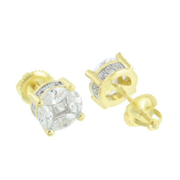 Earrings Mens Womens 14K Finish Marquise Lab Diamond Prong Set