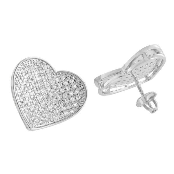 White Heart Shape Earrings Womens Screw Back Cute Gift 18 MM