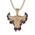 Dripping Bull Head Animal 14k Gold Finish .925 Pendant
