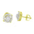 Halo Solitaire Design Earrings 14K Yellow Gold Finish Simulated Diamonds Screw Back Studs