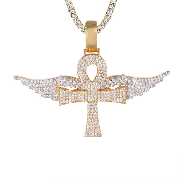 Icy Religious Ankh Cross Flying Angel Wings Gold Tone Pendant