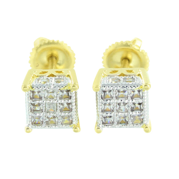 Princess Cut Mens Earrings 14k Finish Ladies Lab Diamond Screw Back