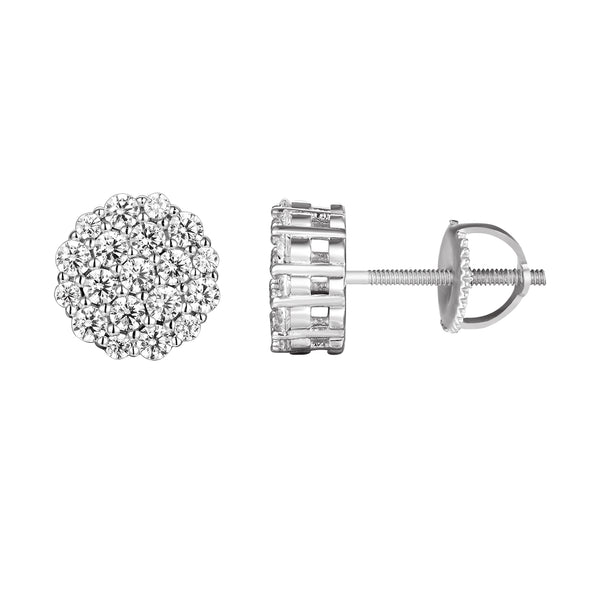 Sterling Silver Iced Out Prong Solitaire Screw Back Earrings