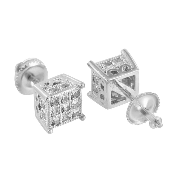 Princess Cut Earrings Screw Back 14K Finish Lab Diamonds 7 MM Classy