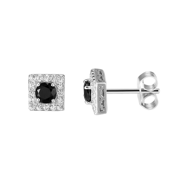 Sterling Silver 14k White Gold Finish Bling Black Solitaire Ruby Stud Earrings