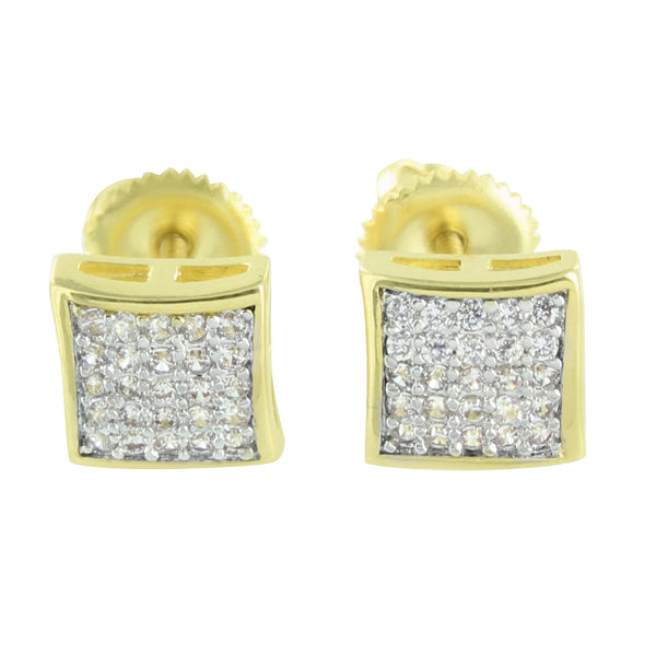 14k Gold Tone Earrings Dome Style Screw Back Lab Diamond