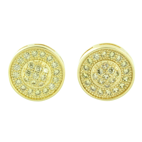 Round Shape Earrings Yellow Gold Finish