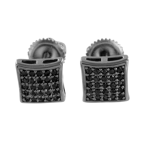 Black Lab Diamond Earrings Screw Back Black Gold Tone