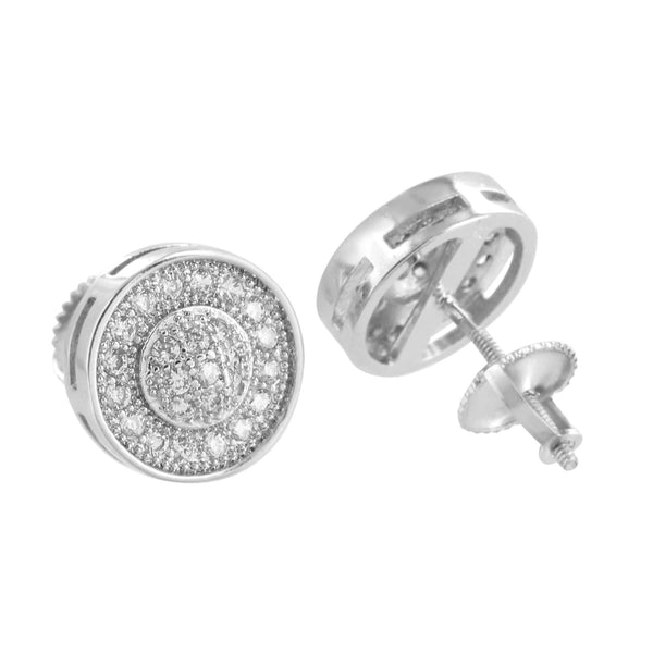 Round Earrings Screw Back Mens Womens 11 MM