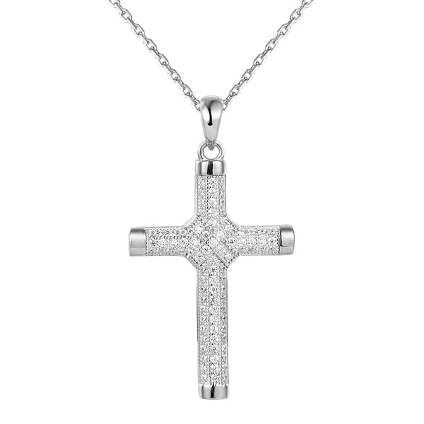 Silver Iced Out Ribbon Cross Pendant 18