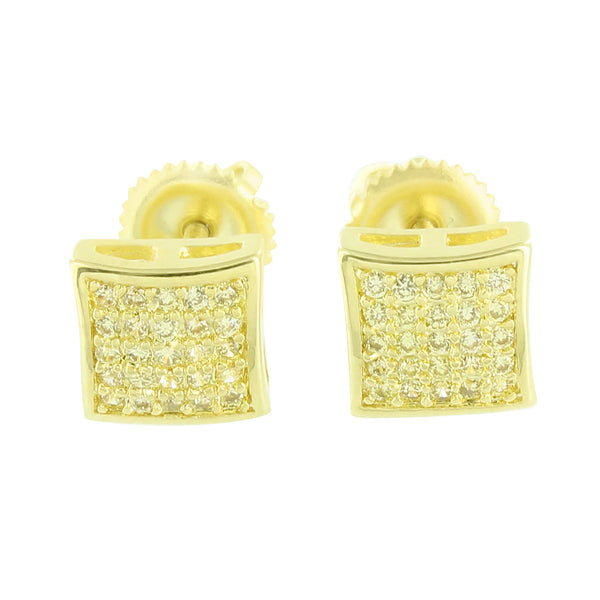 Yellow Earrings Screw Back 14k Yellow Gold Finish Micro Pave Classy