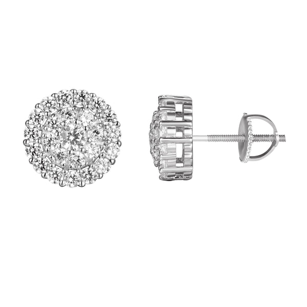 3D Prong Set Solitaire Iced Out Silver Screw Back Earrings