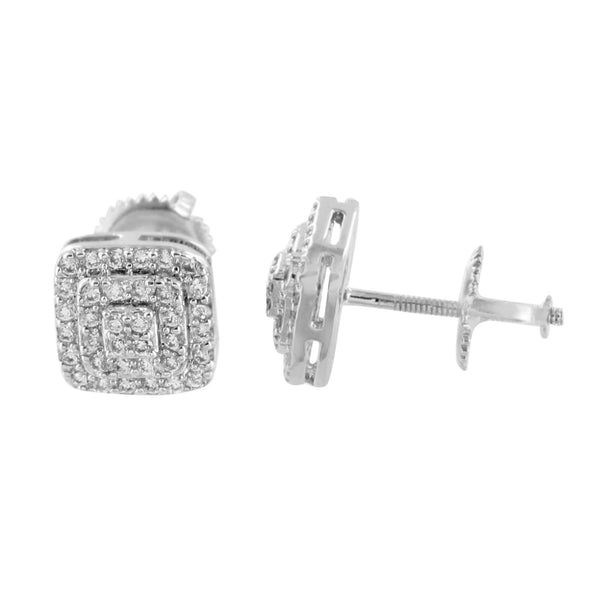 Mens Earrings Square White Gold Finish Screw Back Custom Style Elegant Simulated CZ