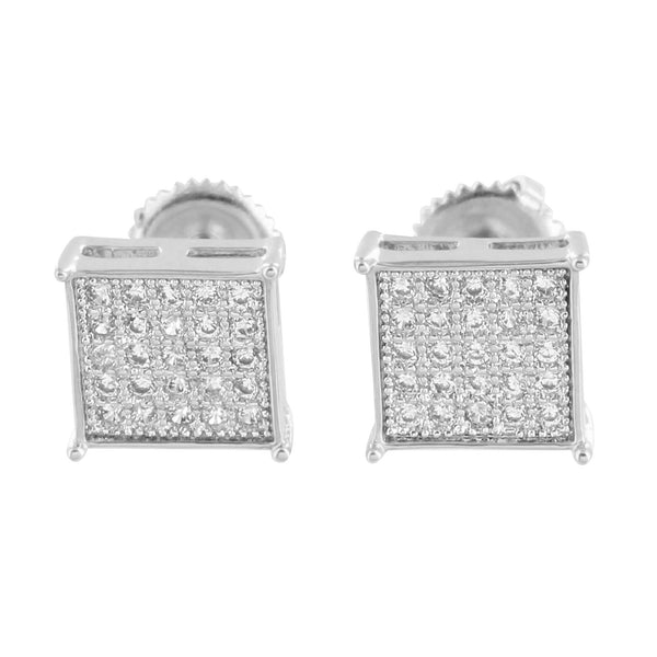 White Gold Square Earrings 14K Finish Micro Pave Screw Back