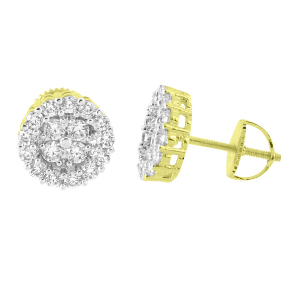 Cluster Prong Set Earrings 14K Yellow Gold Finish Screw Back Studs Simulated Diamonds Classy