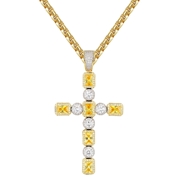 14k Gold Finish Canary Solitaire Silver Cross Pendant Free Chain