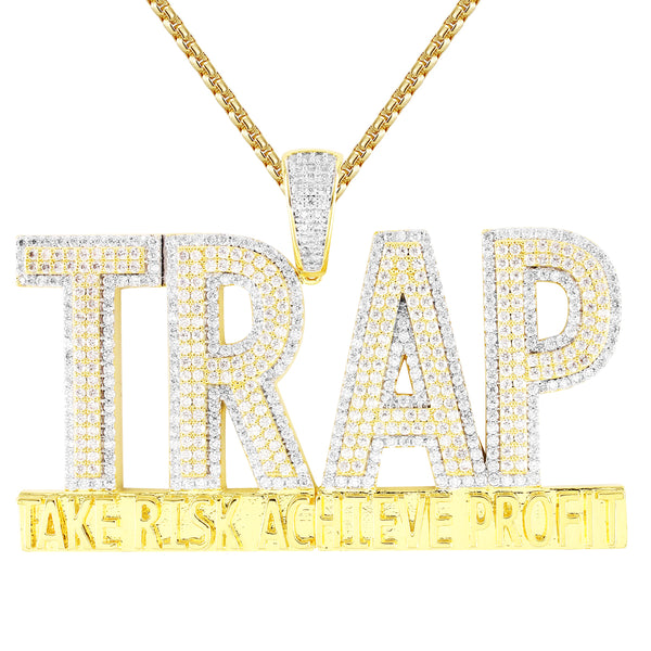 Men's TRAP Silver Double Layer Risk Hustler Custom Pendant