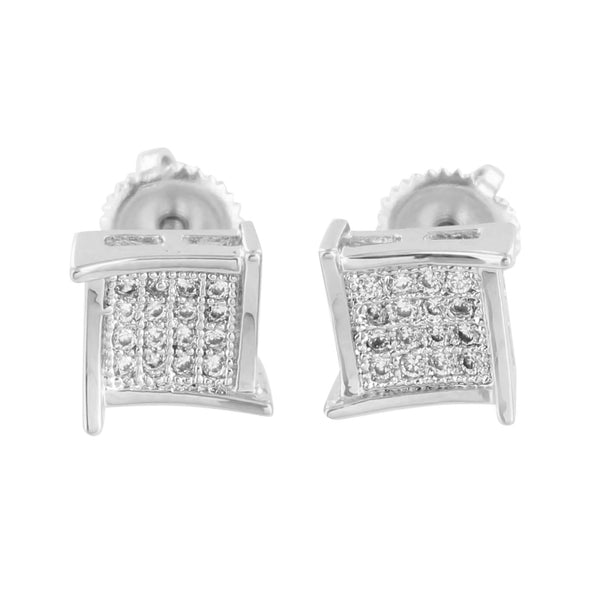 Mens Earrings 14k White Gold Finish Screw Back 7 MM