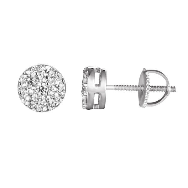 Sterling Silver Iced Out Solitaire Round Stud Earrings