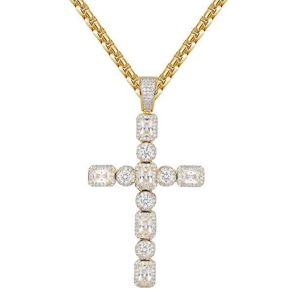 Men's 14k Gold Finish Solitaire Princess Cut Silver Cross Pendant