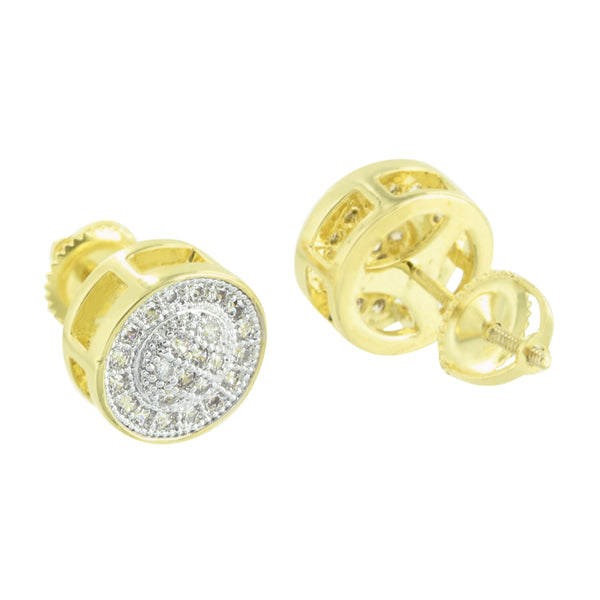 Round Design Earrings Simulated Diamonds Yellow Gold Finish Screw Back