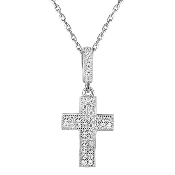 Sterling Silver 2 row Solitaire Cross Pendant 18