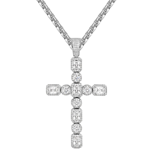 Iced Out Silver Princess Cut Jesus Cross Custom pendant Chain