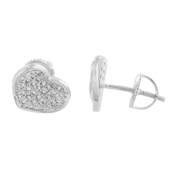 Heart Shape Earrings 14K White Gold Finish Screw Back
