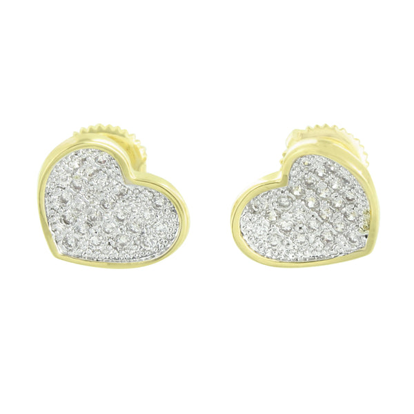 Heart Earrings 14k Gold Finish Screw Back Lab Diamonds