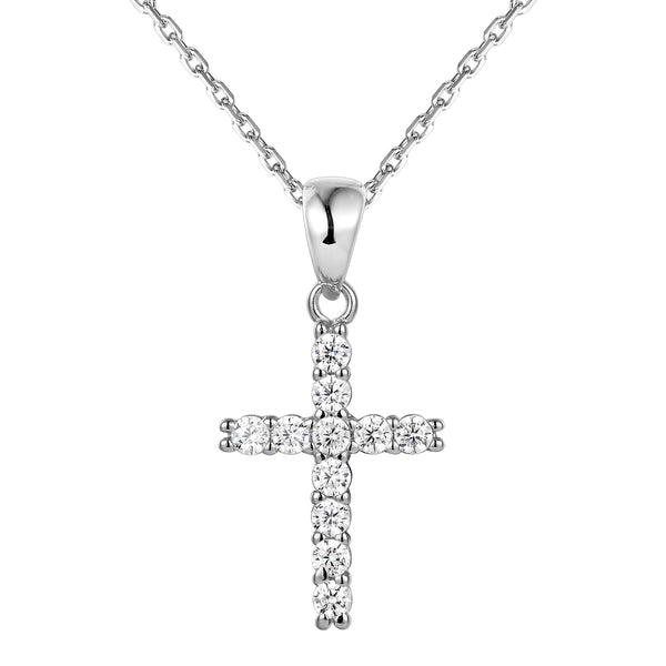 Sterling Silver Solitaire One Row Cross Pendant Set