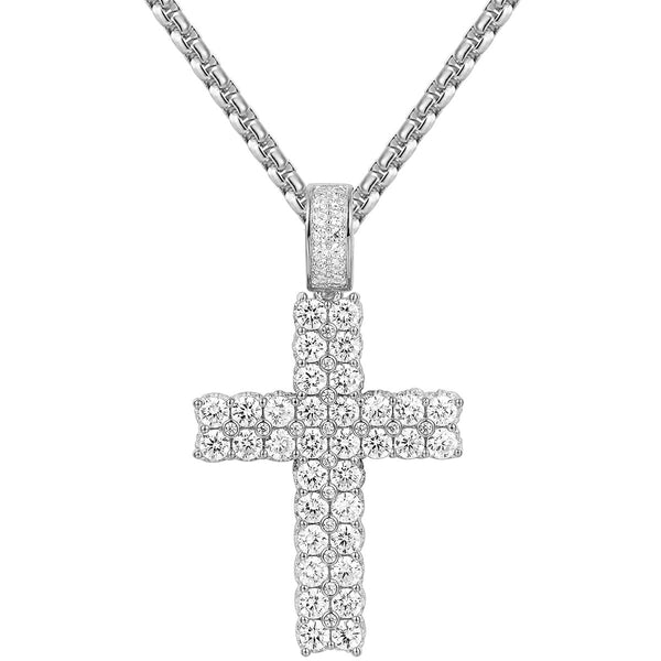 Sterling Silver Two Row Solitaire Bling Cross Pendant Chain