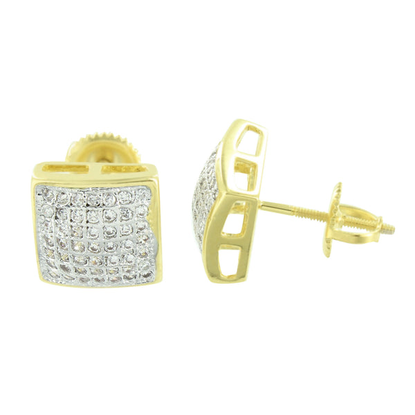 Square Shape Earrings Yellow Gold Finish Lab Created CZ Pave Set Screw Back
