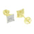Lab Diamond Earrings Square Face Screw Back Lock 14K Yellow Gold Finish
