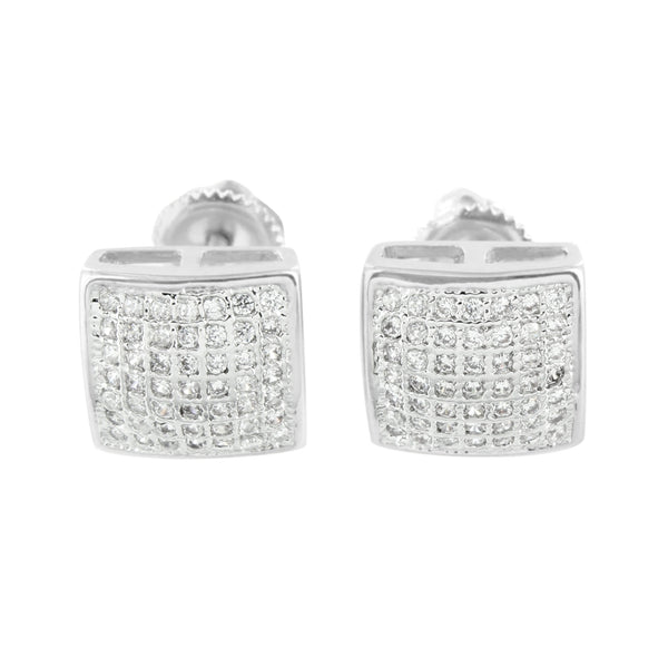 Screw Back White Earrings Simulated Diamonds 10 MM Mens Iced Out